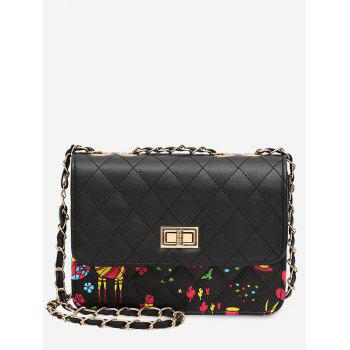 Print Animal Quilted Crossbody Bag - BLACK BLACK