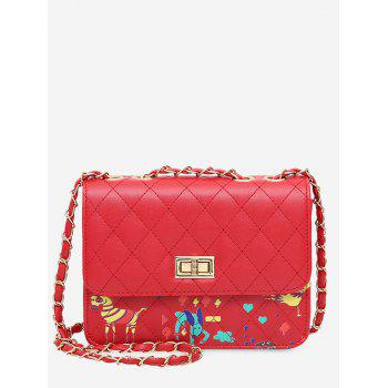 Print Animal Quilted Crossbody Bag - RED RED