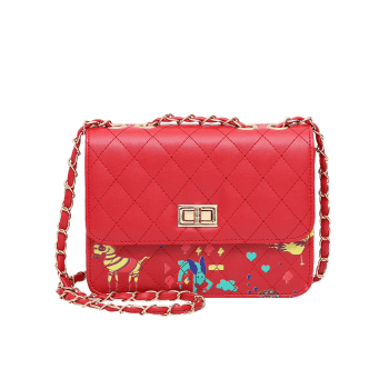 Print Animal Quilted Crossbody Bag -  RED