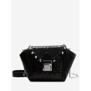 Sequin Rivet Metal Crossbody Bag - BLACK BLACK