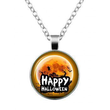 Happy Halloween Pumpkin Bat Ghost Necklace - SILVER SILVER