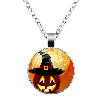 Halloween Pumpkin Wizard Hat Castle Necklace - SILVER SILVER
