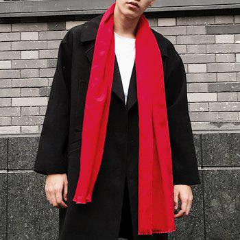 Outdoor Artificial Wool Fringe Shawl Scarf -  RED