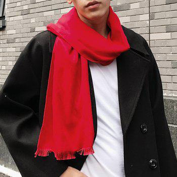 Outdoor Artificial Wool Fringe Shawl Scarf - RED RED