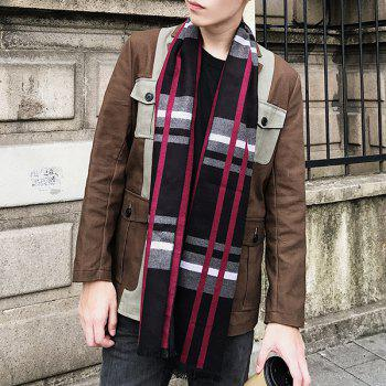 Outdoor Plaid Pattern Fringed Blanket Shawl Scarf -  BLACK RED