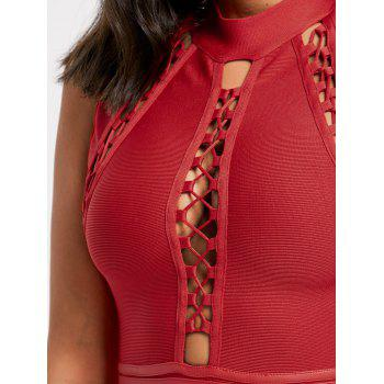 Lattice Cut Out Bodycon Bandage Dress - RED L