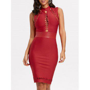 Lattice Cut Out Bodycon Bandage Dress - RED RED