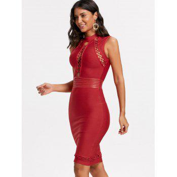 Lattice Cut Out Bodycon Bandage Dress - RED XS