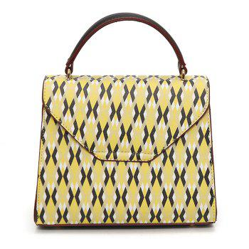Faux Leather Geometric Tote Bag -  YELLOW