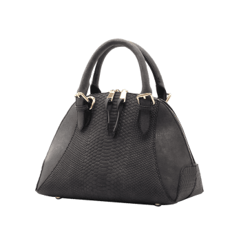 Crocodile Pattern Shell Shape Buckle Strap Totes -  BLACK