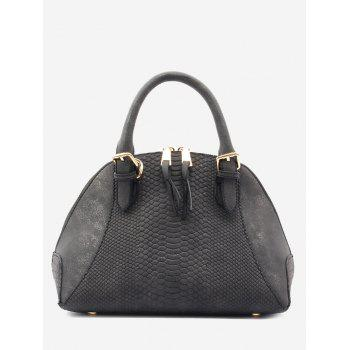 Crocodile Pattern Shell Shape Buckle Strap Totes - BLACK BLACK
