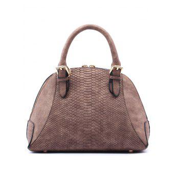 Crocodile Pattern Shell Shape Buckle Strap Totes - DUN