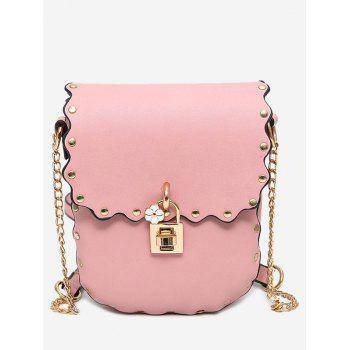 Scallop Rivet Chain Crossbody Bag - PINK PINK