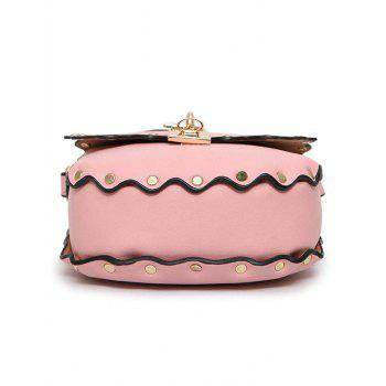 Scallop Rivet Chain Crossbody Bag -  PINK