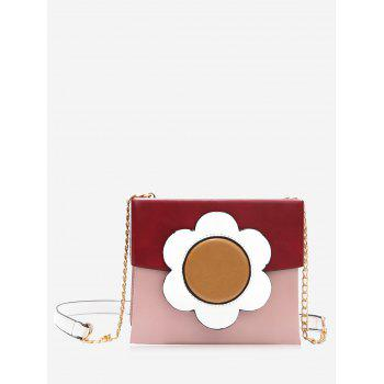 Floral Color Block Chain Crossbody Bag - RED RED