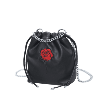 Rose Embroidery Drawstring Bucket Bag -  BLACK