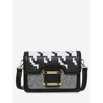 Geometric Buckle Strap Metal Crossbody Bag - BLACK BLACK