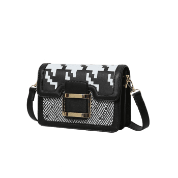 Geometric Buckle Strap Metal Crossbody Bag -  BLACK