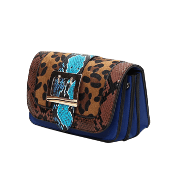 Leopard Print Snakes Buckle Strap Crossbody Bag - BROWN