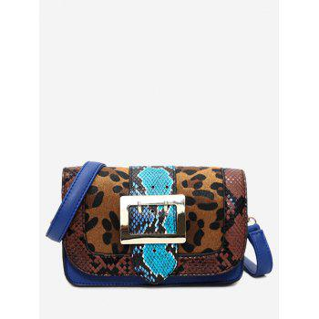 Leopard Print Snakes Buckle Strap Crossbody Bag - BROWN BROWN