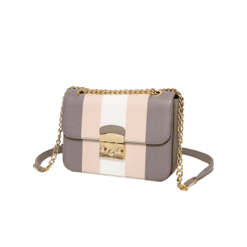 Color Block Chain Faux Leather Crossbody Bag -  GRAY