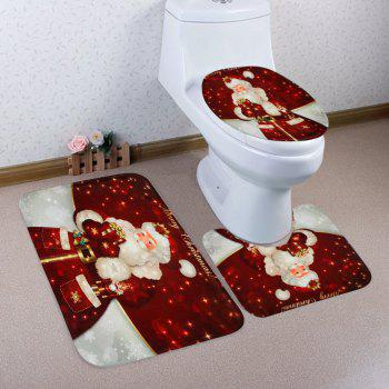 Christmas Santa Gift Pattern 3 Pcs Bathroom Toilet Mat - RED RED