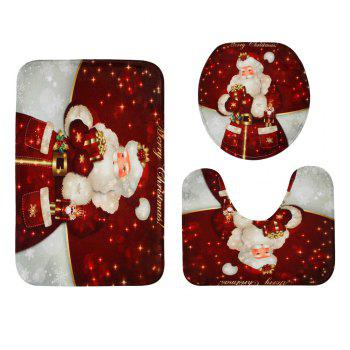 Christmas Santa Gift Pattern 3 Pcs Bathroom Toilet Mat -  RED