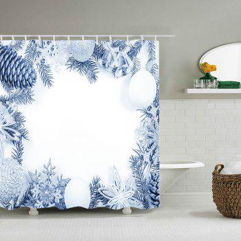 Série de Noël Print Waterproof Bathroom Shower Curtain - Blanc W71 INCH * L79 INCH