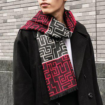 Fringed Labyrinth Pattern Scarf -  RED