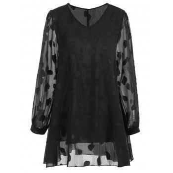 Plus Size Leaf Sheer V Neck Blouse - BLACK 5XL