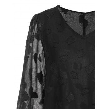 Plus Size Leaf Sheer V Neck Blouse - BLACK XL