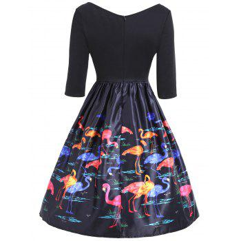 Flamingo Print V Neck Fit and Flare Vintage Dress - COLORMIX M