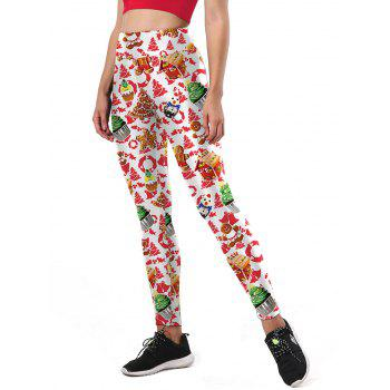 Ulgy Christmas Tree Party Cake Leggings - WHITE S