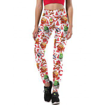Ulgy Christmas Tree Party Cake Leggings - WHITE WHITE