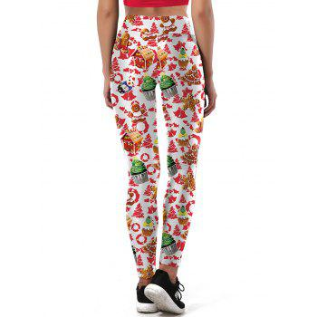 Ulgy Christmas Tree Party Cake Leggings - WHITE L