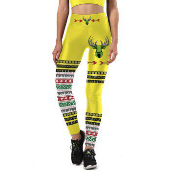 Color Block Christmas Tree Snowflake Leggings - YELLOW AND BLACK S