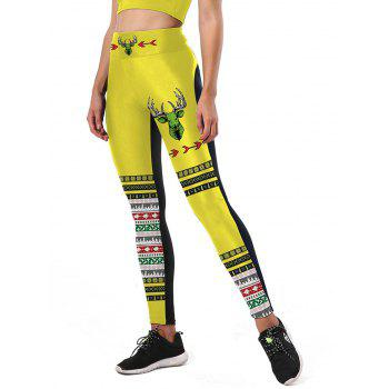 Color Block Christmas Tree Snowflake Leggings - YELLOW/BLACK YELLOW/BLACK
