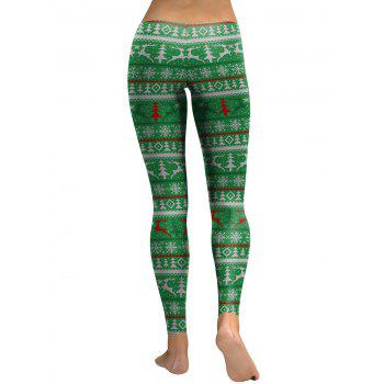Christmas Tree Elk Snowflake Leggings - GREEN S