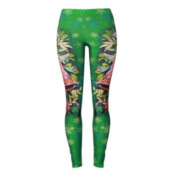 Christmas Party Bells Snowflake Leggings - GREEN GREEN