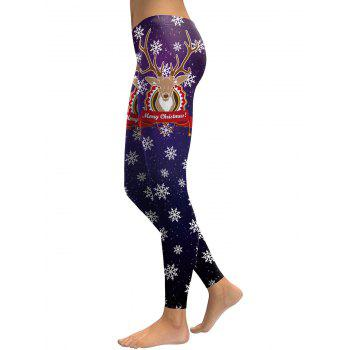 Merry Christmas Elk Snowflake Leggings - PURPLE M