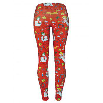 Christmas Tree Party Snowman Angel Leggings - RED RED
