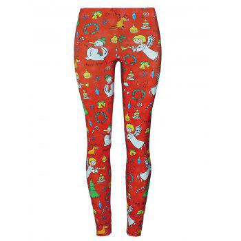 Christmas Tree Party Snowman Angel Leggings - RED L