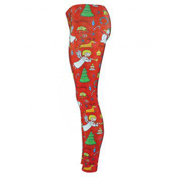 Christmas Tree Party Snowman Angel Leggings - RED XL