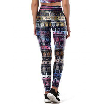Snowflake Elk Christmas Party Leggings - COLORMIX COLORMIX