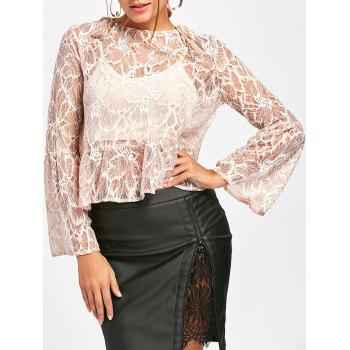 Flare Sleeve Lace Sheer Blouse - NUDE M