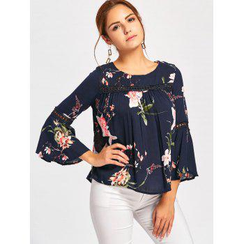 Bell Sleeve Lace Insert Floral Print Blouse - M M