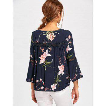Bell Sleeve Lace Insert Floral Print Blouse - BLUE L