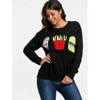Dropped Shoulder Food Jacquard Sweater - ONE SIZE ONE SIZE