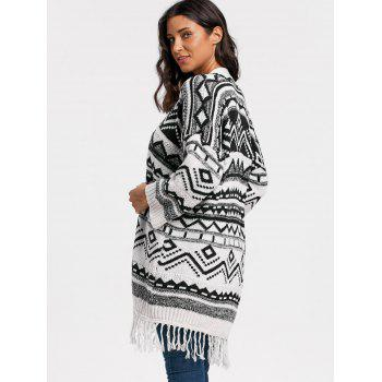 Geometric Fringe Long Sweater Cardigan - WHITE ONE SIZE