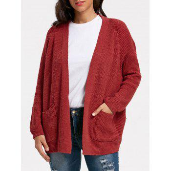 Poctets Sweater Cardigan - WINE RED ONE SIZE